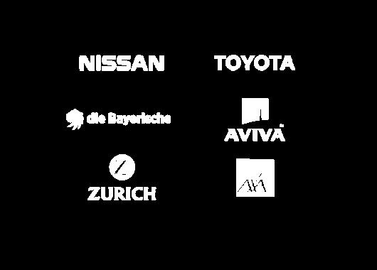 Nissan, Toyota, Bayerische Beamten Versicherung AG (Die Bayerische), Aviva, Zurich, Axa logos showing Innovation Group's clients